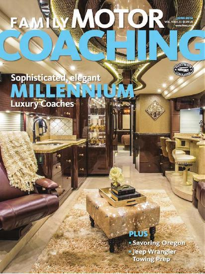 Millennium Show Coach Featured on the Cover of FMCA Magazine - Magazine cover