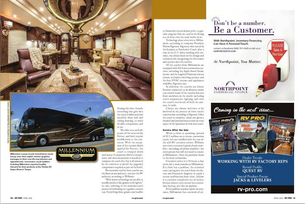 Pages showing Millennium featured in RV PRO Magazine