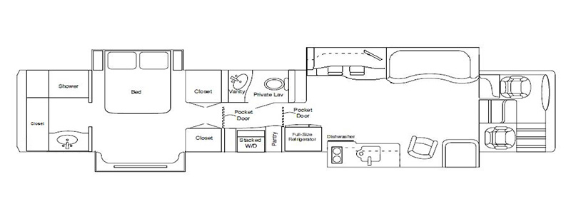 Quad Rear Bath Dining Bar and One Toilet Floorplan