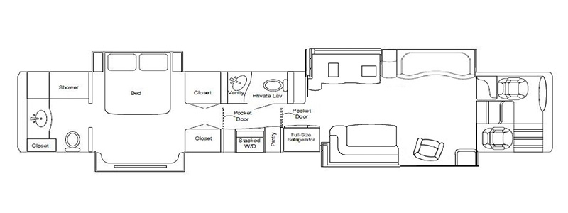 Quad Rear Bath and a Half J Lounge Flat Floorplan