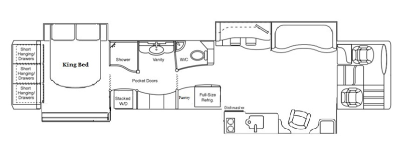 Quad Slide Center Bath With Bar Stool Floorplan